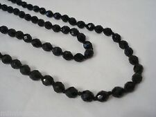 """Vintage Black Faceted Glass Bead 56"""" Flapper Length Necklace Mourning Knotted"""