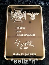 1 OZ GOLD HITLER NAZI IRON CROSS BAR Reichsbank COIN Ingot SIGNATURE SIGNED A.H