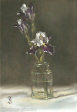 "Daily Painting a Day Sepos ""Bearded Iris, Two Plus One"" still life crystal vase"