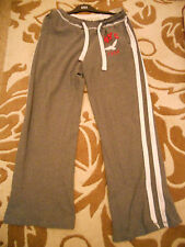 LEE COOPER-  MID GREY TRACKSUIT PANTS WITH 2  WHITE STRIPES DOWN LEG