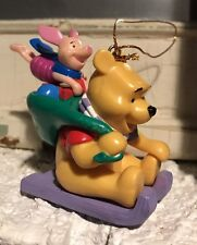 DISNEY Winnie the Pooh and Piglet on Sled Christmas Ornament Holiday Collectible