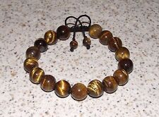TIGER EYE BRACELET shamballa inspired - Made in USA - Meaningful Adjustable Yoga