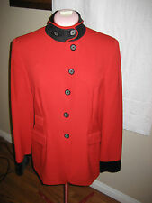 DKNY DONNA KARAN NEW YORK Red/ BLACK COLLAR/CUFFS JACKET Blazer SIZE 8