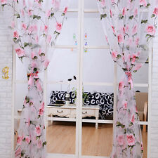 Floral Tulle Curtains Sheer Curtains For Living Room Bedroom Kitchen Panel New