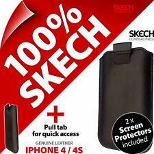 Skech Pouch Tab GENUINE LEATHER Case for iPhone 3G 3GS + 2 x Screen Protectors