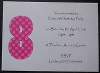 Personalised Girls Birthday Party Invitations/Thank You Cards ANY AGE Childrens