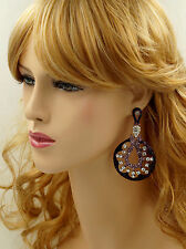 18K Gold Plated GP Purple Crystal Rhinestone Chandelier Drop Dangle Earrings 260
