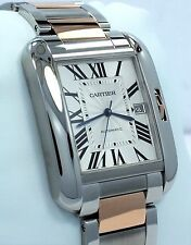 Cartier Tank Anglaise XL Size 18K Rose Gold & SS 3507 Watch *MINT CONDITION*