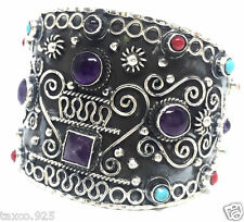 VINTAGE STYLE TAXCO MEXICAN 925 STERLING SILVER AMETHYST CUFF BRACELET MEXICO