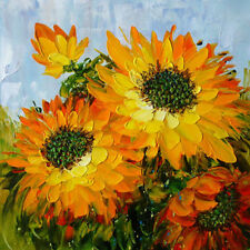 "Modern Hand-painted Oil Painting Sunflower Palette knife 20*20"" /NO Frame OP2016"