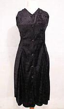 VINTAGE 90s MIDI DRESS BLACK VELVETY FIT FLARE BUTTON UP GOTH GRUNGE WOMENS 8