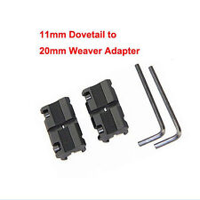 2 x 11mm Dovetail to 20mm Weaver Picatinny Rail Converter Adapter Base sg