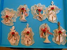 LOT 8 Shabby Chic Victorian Musical Instrument Christmas Ornaments Pink IVORY