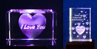 Laser Crystal Glass Ornaments / Paperweights - Heart Today + Heart I Love You