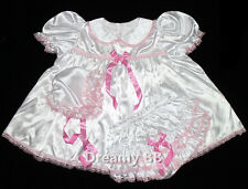 ADULT SISSY BABY SHIMMERING SATIN 3 PC DRESS ST01