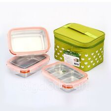 STENLOCK Stainless Steel Retangle Airtight Lunch Box Food Container 3pcs SET /S
