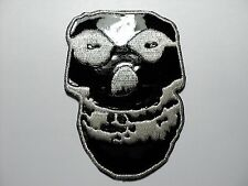 MISFITS SKULL SILVER AND BLACK     EMBROIDERED PATCH IRON OR SEW