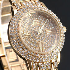 Zeiger Womens BlingBling Quartz Watch Analog Golden Luxury Stainless Steel New