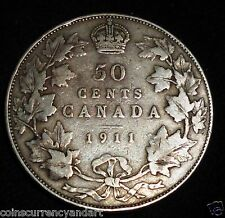 1911 CANADA 50 Cents. Fifty Cents . Half Dollar.  Silver Coin