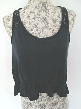 HOLLISTER - NAVY BLUE WITH LACE BEACH/SUMMER VEST TOP Size S COTTON BLEND