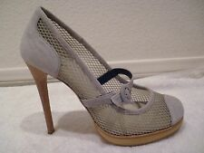 Pollini heels suede gray cream color Cutout mesh shoes-display shoes SZ 37