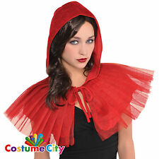 Adulti Da Donna Little Red Riding Hood con cappuccio Mantellina Accessorio Costume Cape