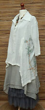 LAGENLOOK OVERSIZE BEAUTIFUL FLORAL PRINT 2 POCKETS LONG JACKET*WHITE* L/XL