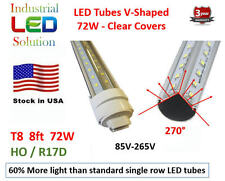 25-Pack 8FT, 72W, Cold 6000K, Clear V-LED T8 T10 LED Tube Light HO/R17D Connect