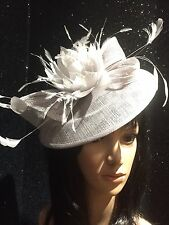 SILVER GREY WEDDING HAT DISC FASCINATOR  OCCASION MOTHER OF THE BRIDE
