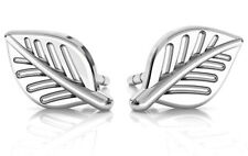PAIR OF STERLING SILVER 925 SMALL LEAF EARRINGS / EAR POSTS / STUDS, 8 MM