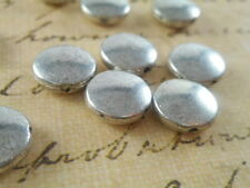 28 Silver Plated Smooth Flat Coin Beads Findings 48440p