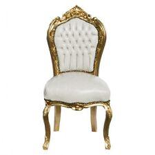 Stuhl Esszimmer Kunstleder Barock weiß glatt glänzend Gold Rahmen Antik Salon