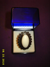 Adjustable Fashion Jewelry Vtg look Sterling Silver White Onyx Cocktail Ring