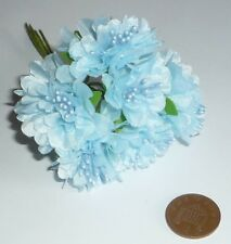 6 STEMS OF BLUE SILK FLOWERS WITH PEARL STAMENS IDEAL 4 CARD MAKING, BABY CARDS