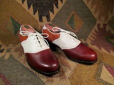 Lady Mulligans Golf Shoes made by Weinbrenner 3 tone Saddle Leather Oxfords