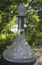 Vtg Wine GLASS Crystal Boat SHIP DECANTER Bottle SILVER Plated Sheratonn Italy Z
