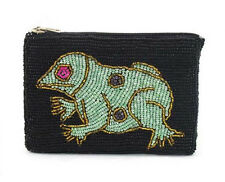 FROG DESIGN SEED BEAD BLACK PURSE, 13cm x 9cm