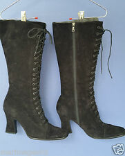 PRADA AUTHENTIC GENUINE BLACK SUEDE FAUX LACE UP KNEE BOOTS 39.5