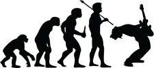 """Guitar Player Evolution Decal Sticker Car Truck Window- 6"""" Wide White Color"""