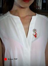 Broche Email Rouge Branche Corail Fleur Feuille Vintage Style Doré Original XZ 2