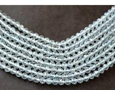 "ONE 12"" LINE AAA FINE WHITE TOPAZ MICRO FACETED RONDELLE BEADS 4.4 MM d20A"