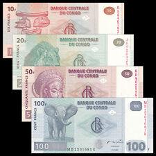 Congo Democratic Republic 4 PCS Banknotes Set (10+20+50+100 Francs), UNC