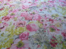 CHIFFON PRINT-PASTEL FLORAL-WHITE/PINK/YELLOW/GREY -DRESS FABRIC-FREE P&P