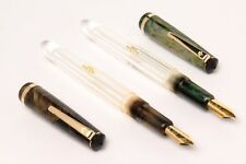 LOT OF 2 AIRMAIL TRANSPARENT ACRYLIC FOUNTAIN PEN MARBLED CAP MADE IN INDIA NEW