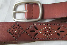 LADIES BROWN LEATHER AEROPOSTALE BELT/SIZE M PEIRCED WITH STUDS/EUC