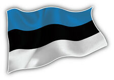 Estonia Waving Flag Car Bumper Sticker Decal 5'' x 3''