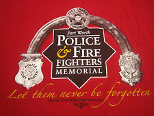 Mens Large L T-Shirt Red Ft Worth Texas Marshal Police Fire Fighters Memorial
