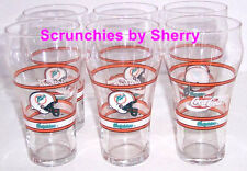 Miami Dolphins Coke Glass Football NFL Collector Coca Cola Vintage Lot of 6