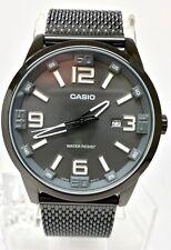Casio MTP1351CD-8A1 Mens Dark Stainless Steel Mesh Band Modern Dress Watch NEW