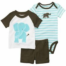 {NWT} CARTER'S BOY Brown Blue White Striped ELEPHANT ~ Cotton 3-PIECE SET ~ 3 MO